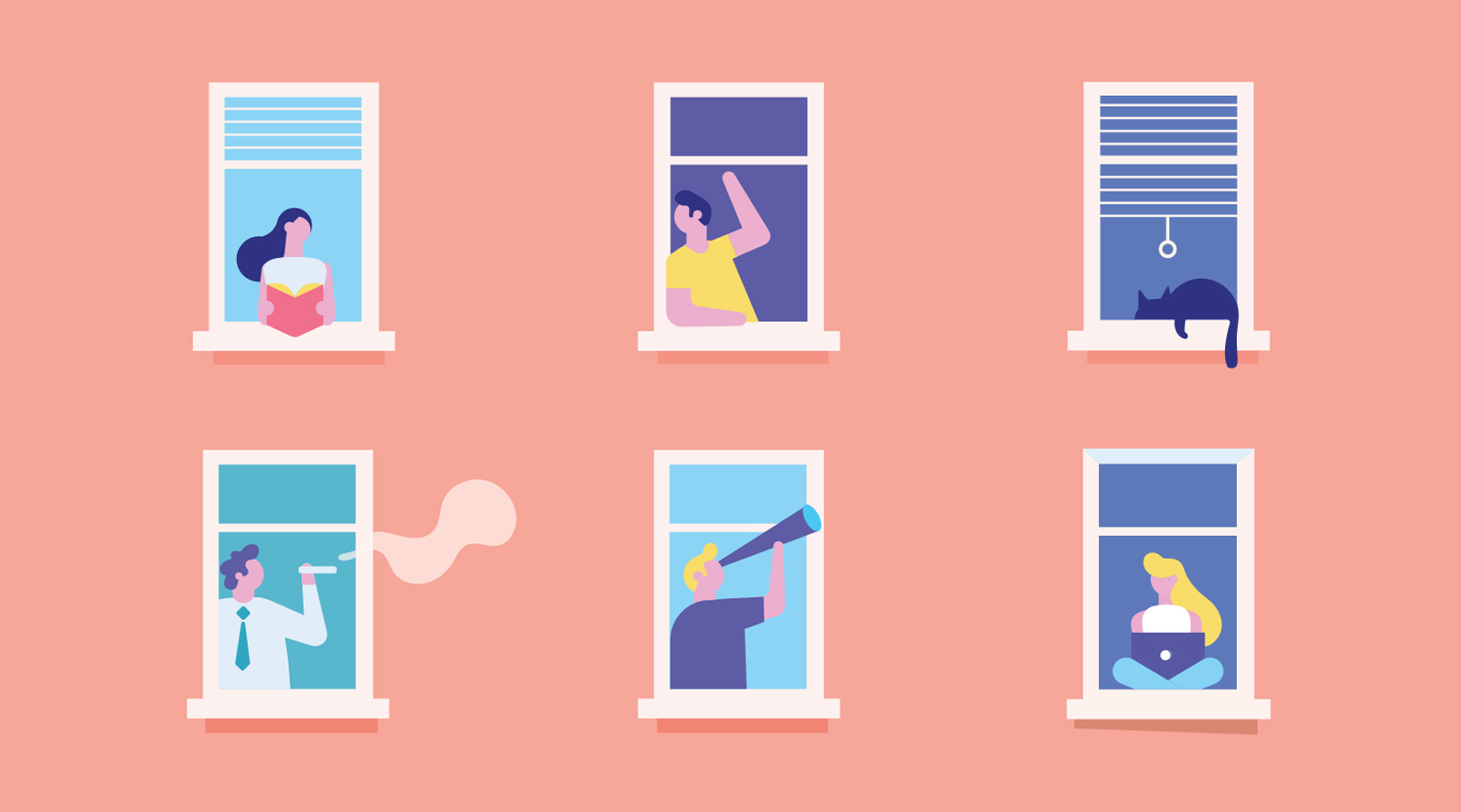 illustration of neighbors looking out apartment windows