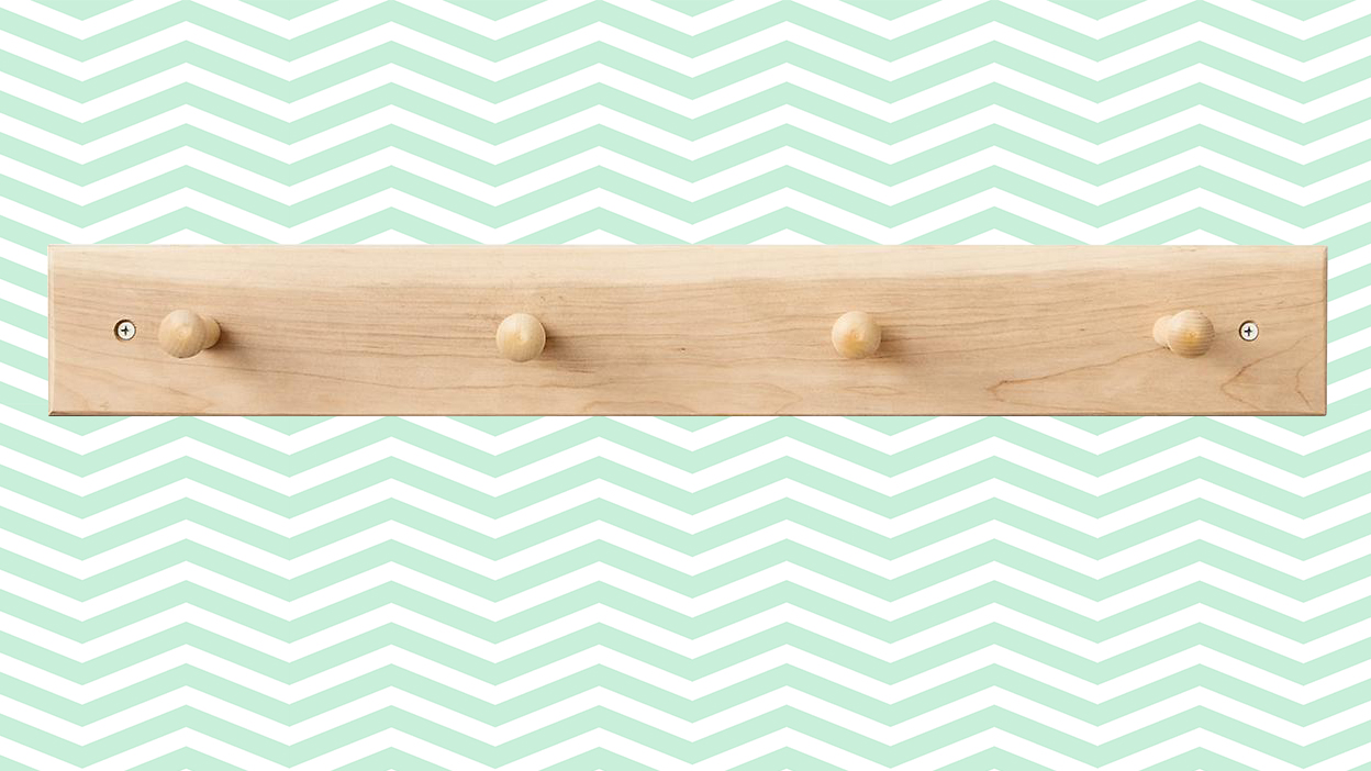 Container Store Shaker Peg Rail in Maple