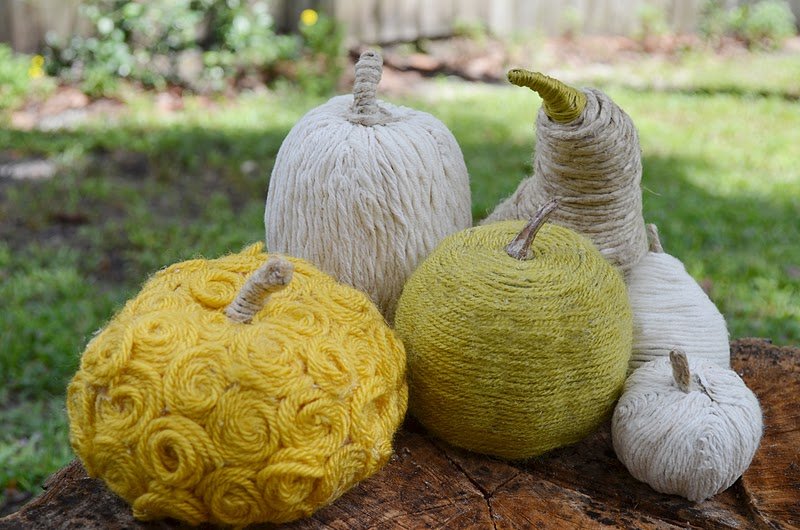 Yarn Wrapped Gourds