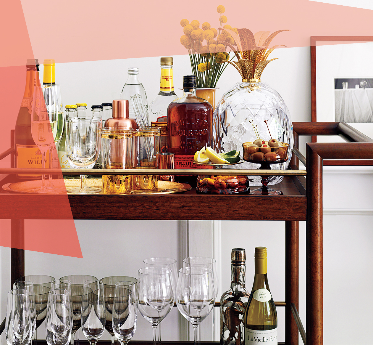 how to entertain in a small space: image of a bar cart