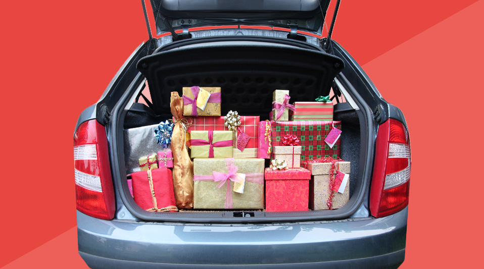 car packed with holiday gifts