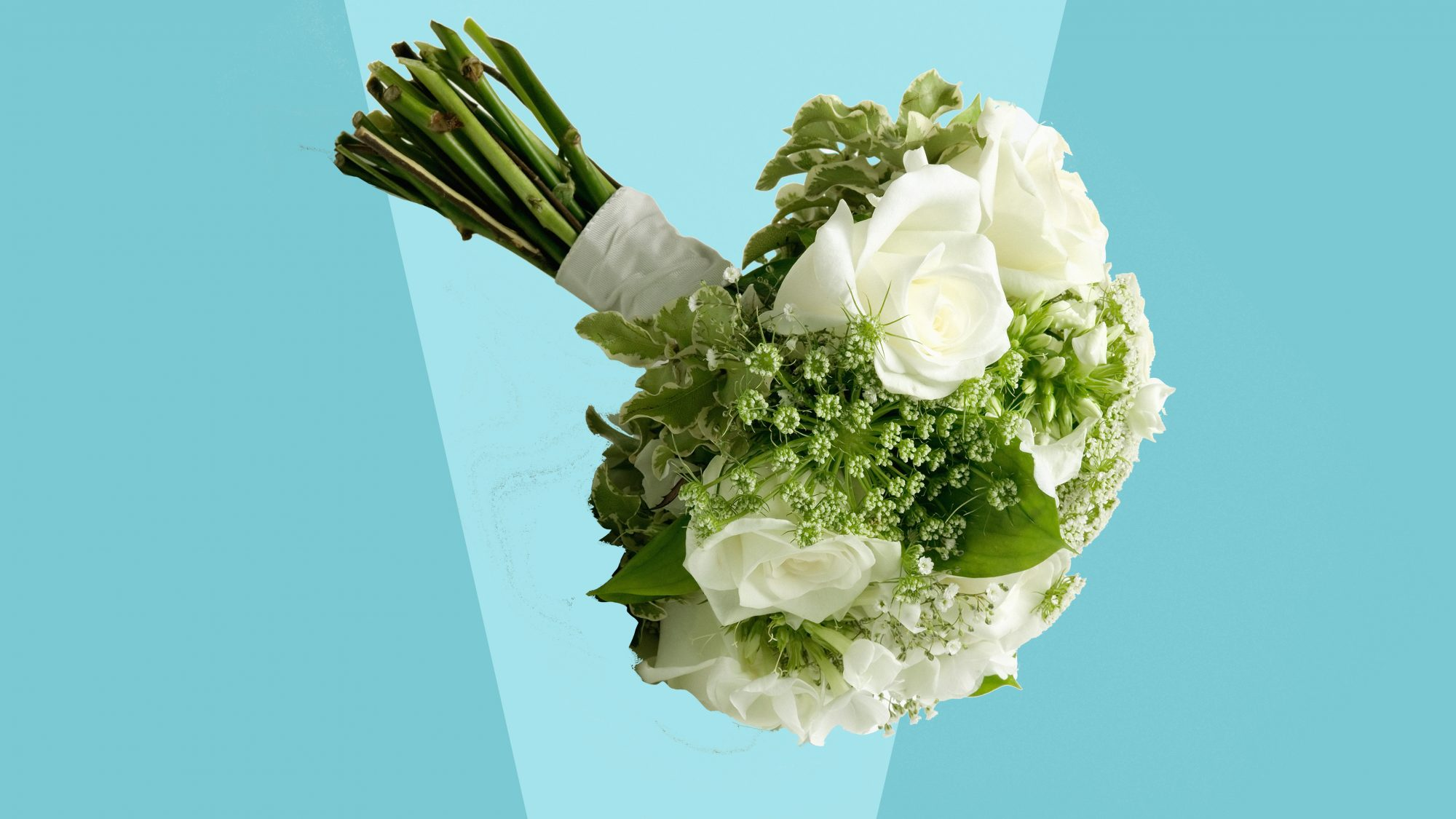 wedding bouquet on blue background