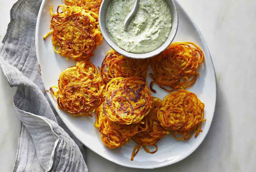 Butternut Squash Fritters With Cilantro Yogurt