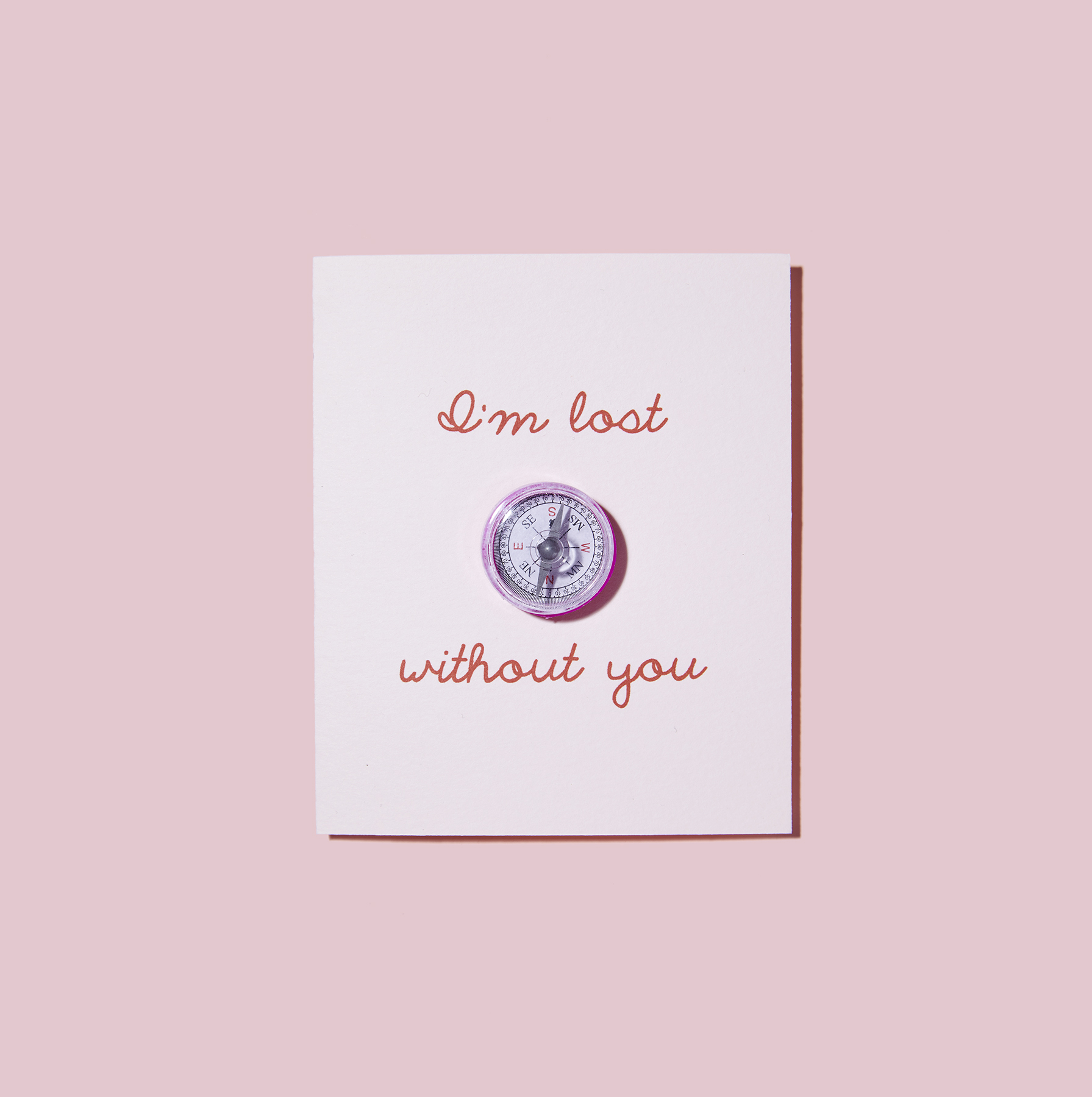 I'm Lost Without You Card, Valentine's day cards with mini compass