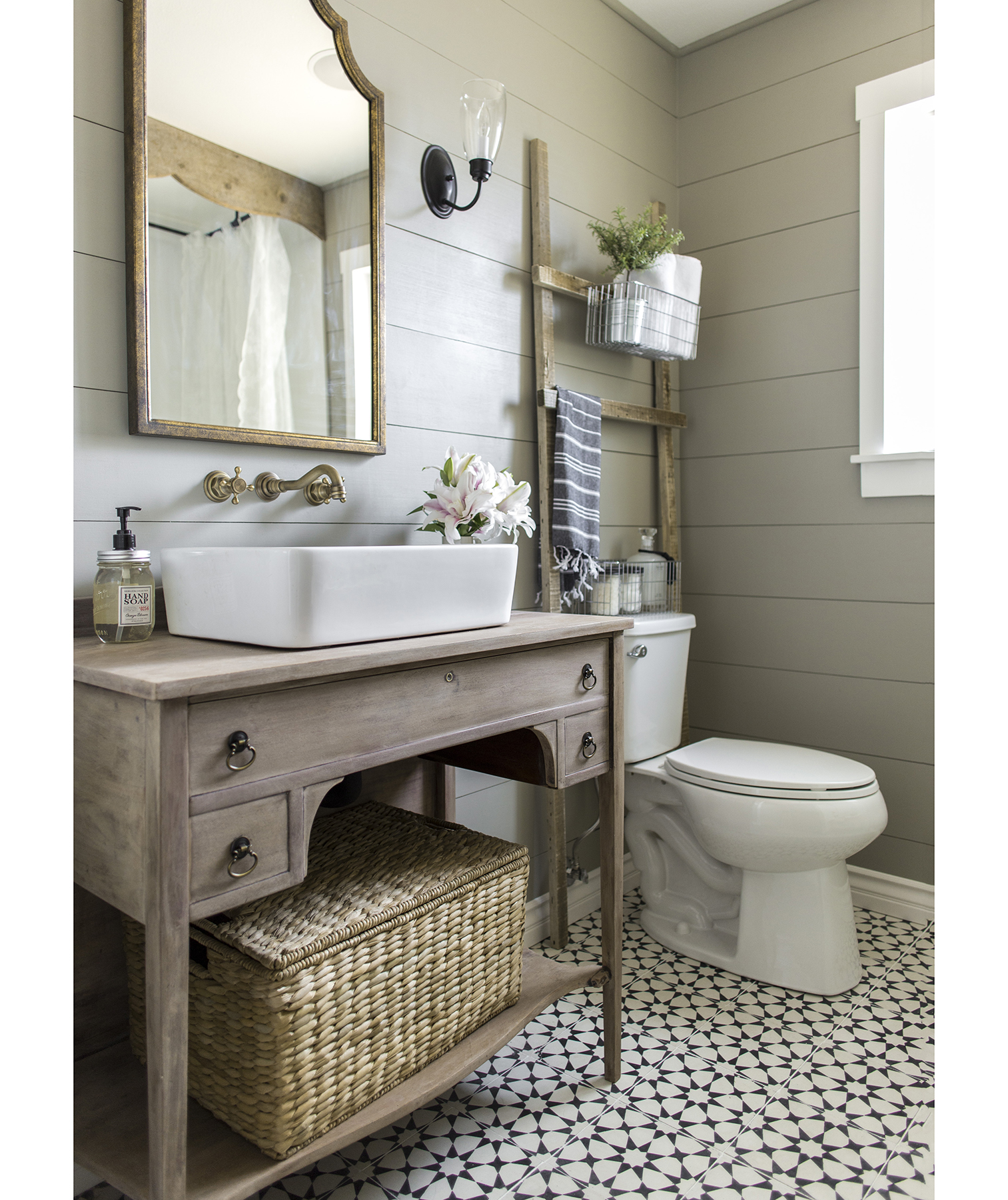 Bathroom with storage above the toilet