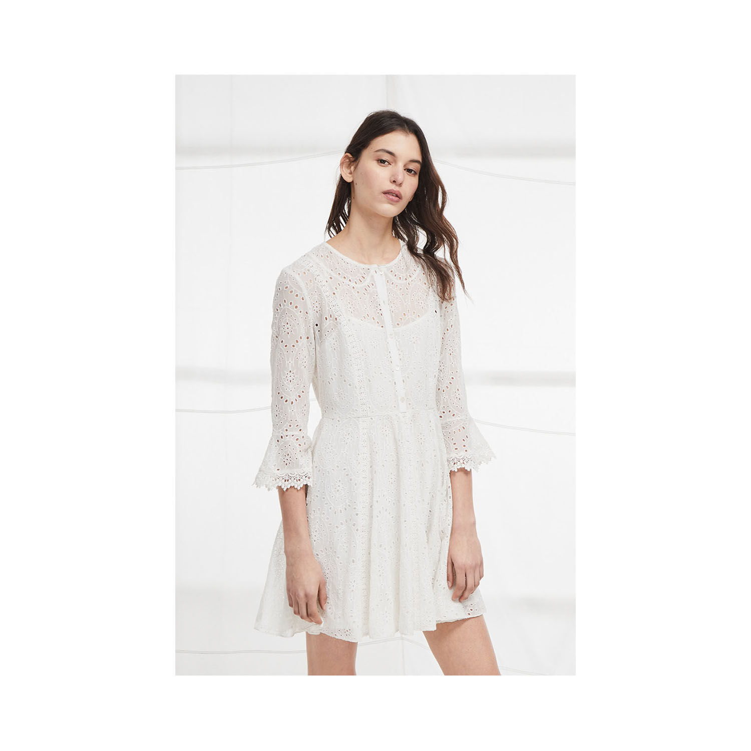 French Connection Derna Drape Fluted Dress