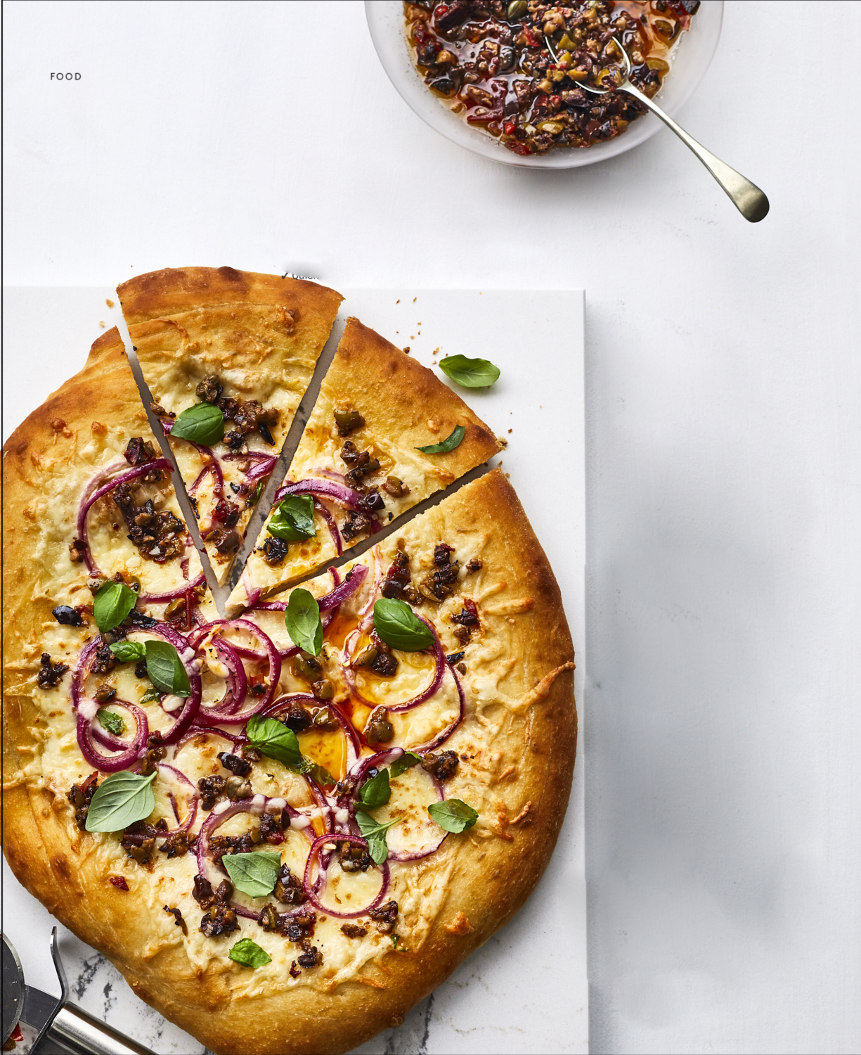 Tapenade and Red Onion Pizza