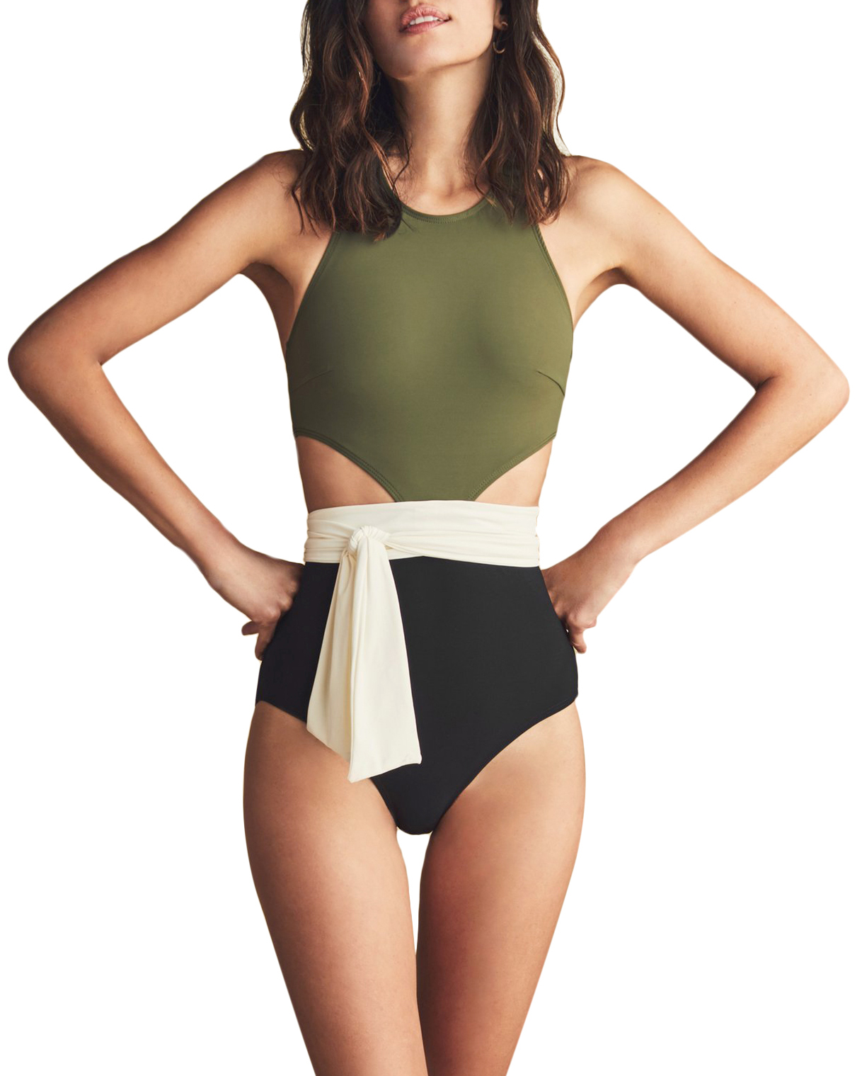 Flagpole Lynn With Sash one-piece cutout bathing suit