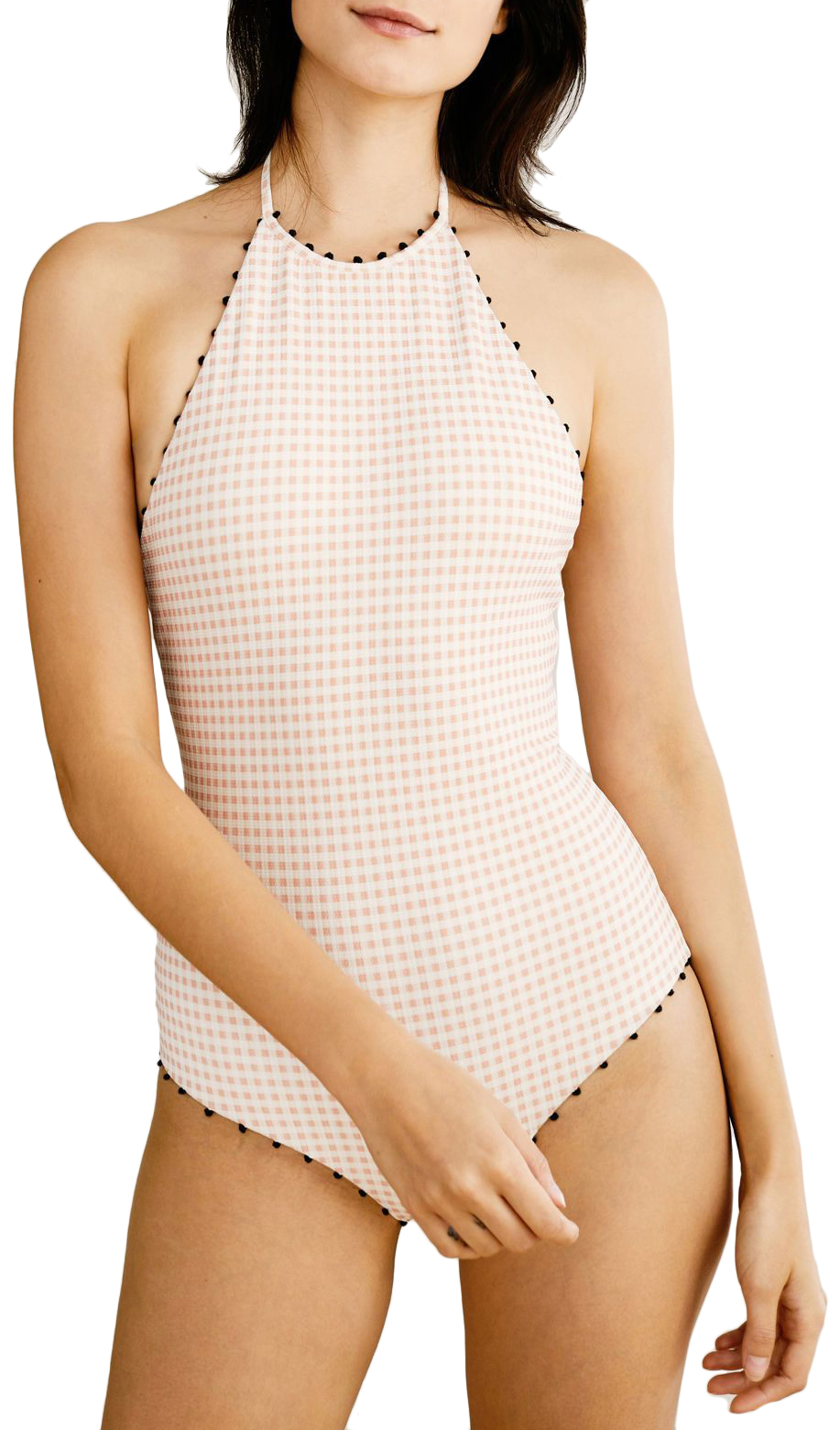 Marysia Mott pastel gingham halter one-piece bathing suit