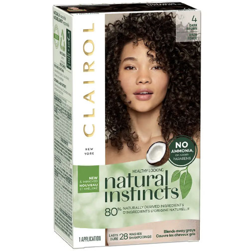 Test dyes on a small section of hair: Clairol Natural Instincts