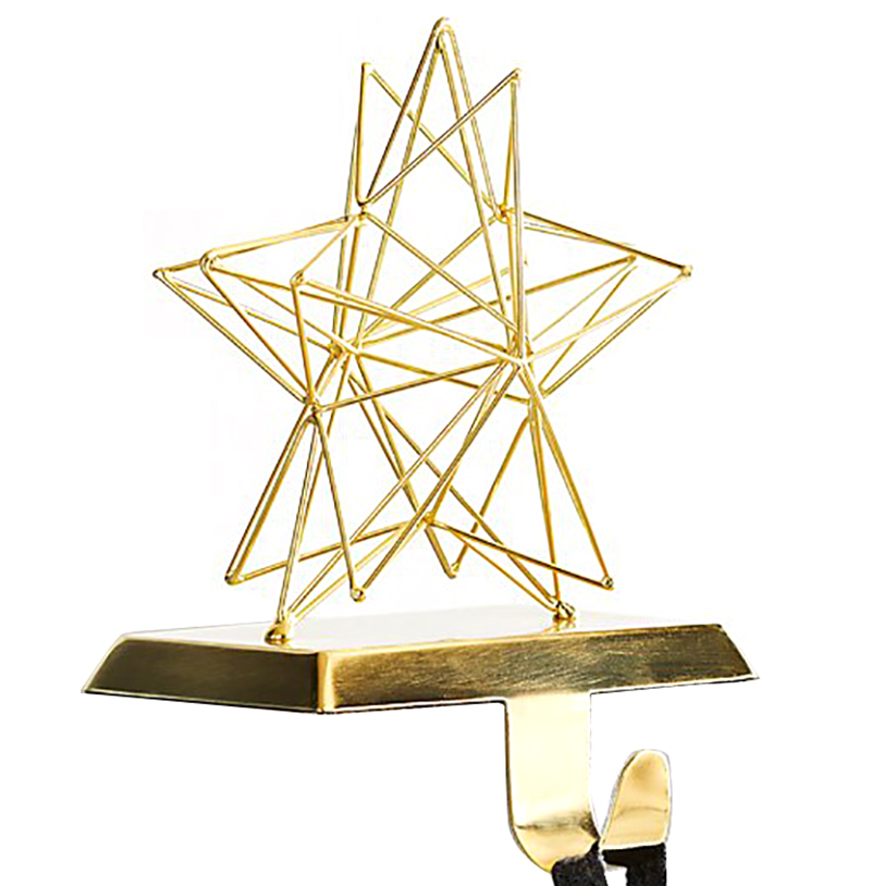 Christmas stocking holders - Crate and Barrel 3D Star Gold Stocking Hook