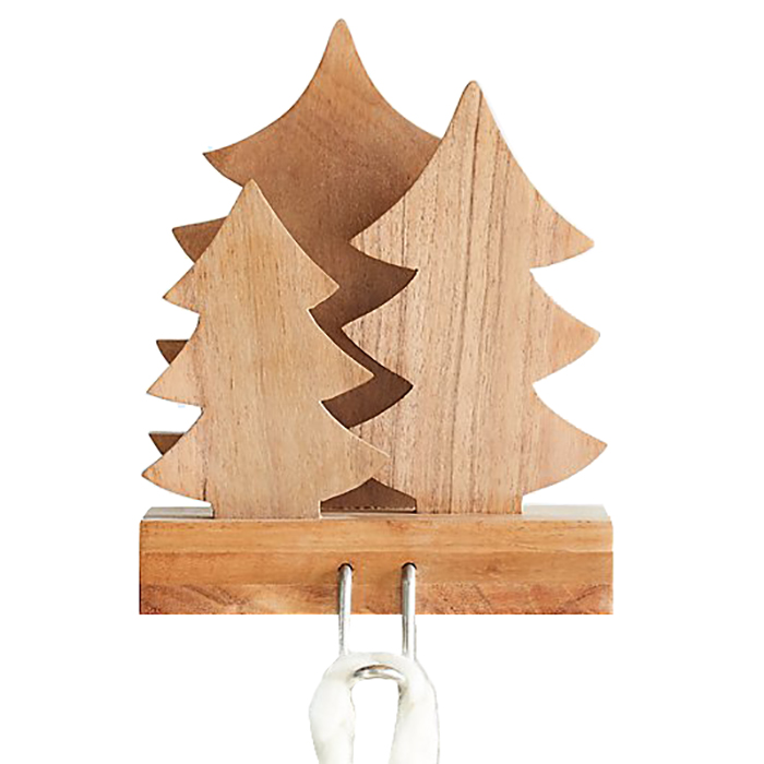 Christmas stocking holders - Crate and Barrel Wood Trees Stocking Hook