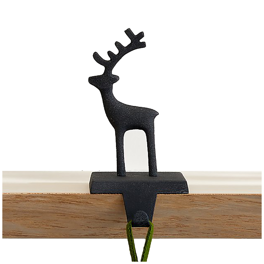 Christmas stocking holders - Crate and Barrel Zinc Reindeer Stocking Hook