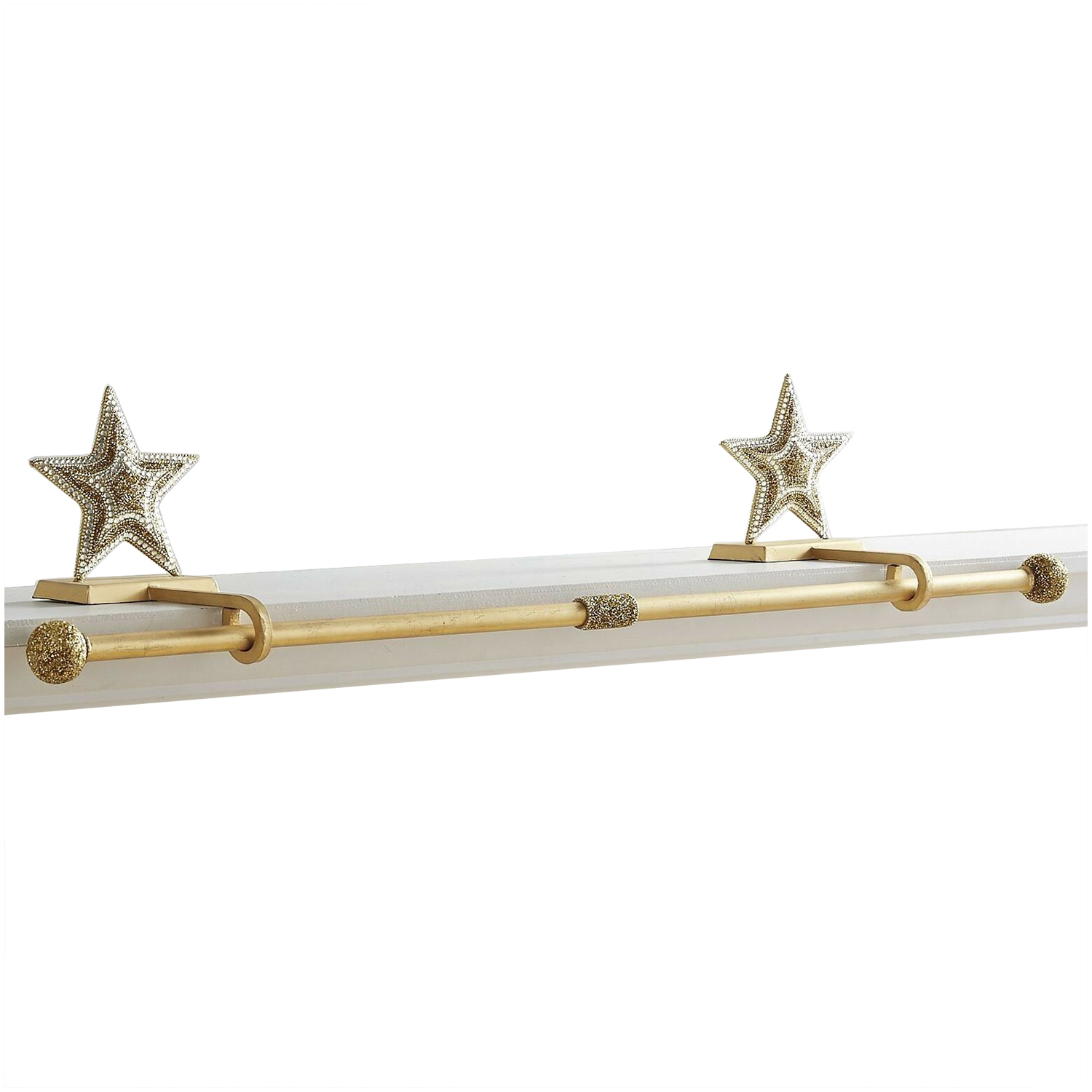 Christmas stocking holders - Pier1 Beaded Gold Star Stocking Holder Rod Set