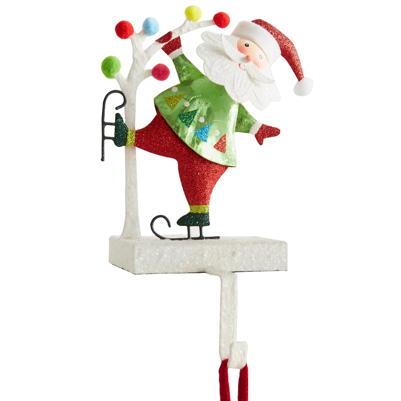 Christmas stocking holders - Pier1 Pompom Santa Glittered Stocking Holder