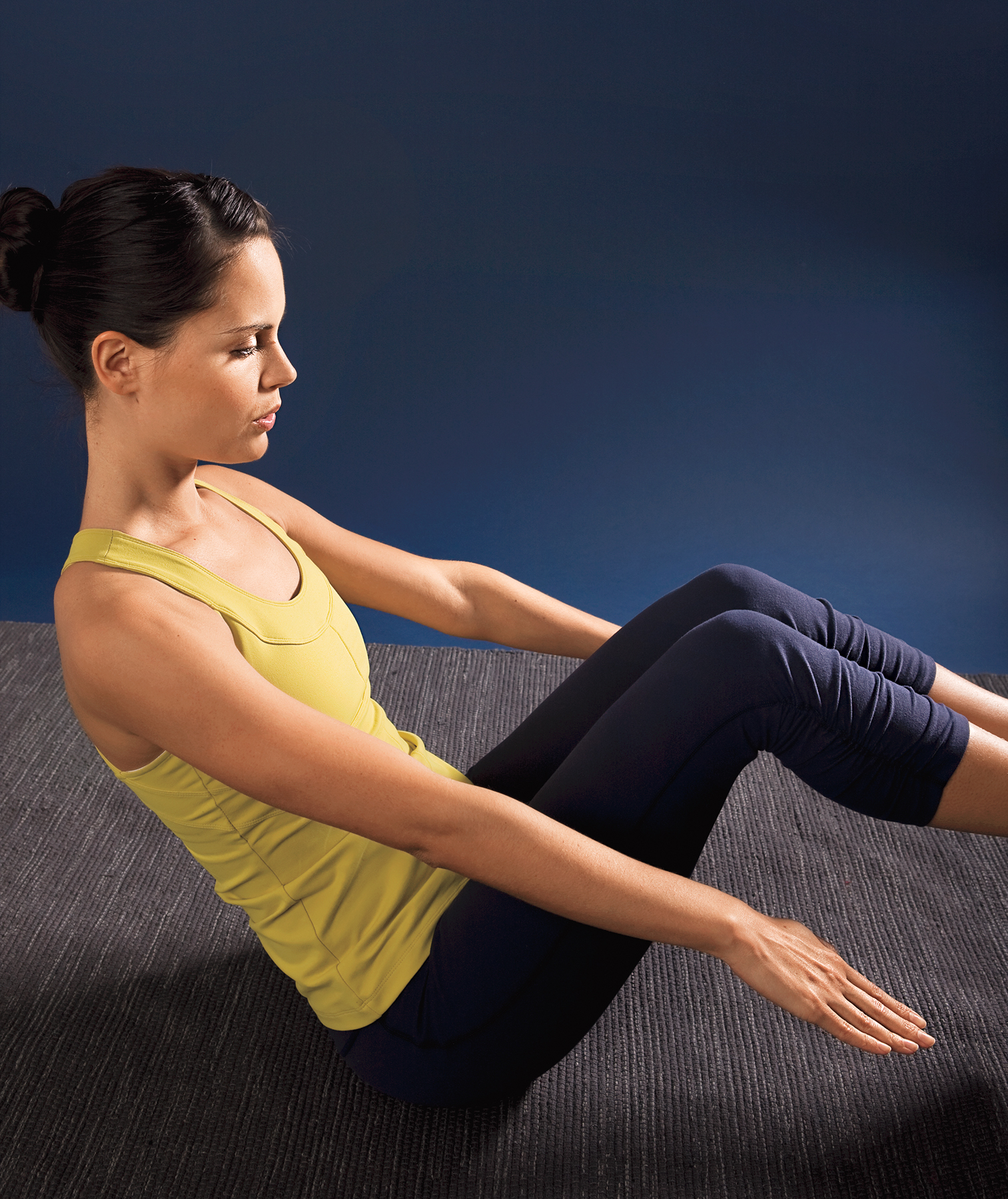 Model doing core workout