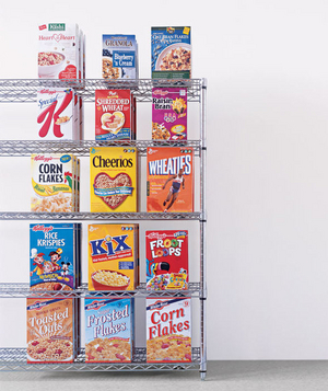 Cereal boxes on a shelf
