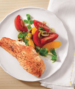Seared Salmon With Oranges, Tomatoes, and Olives