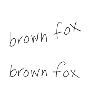 Writing example of letter alignment