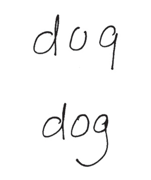 Writing example of letter formation