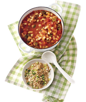 White Bean Chili With Jalapeno Bulgur