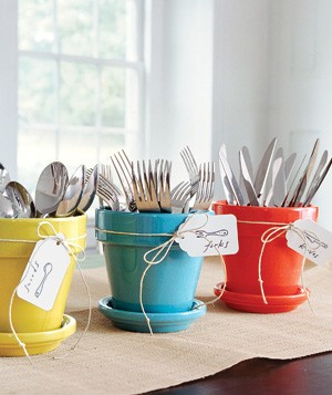 Pots holding utensils