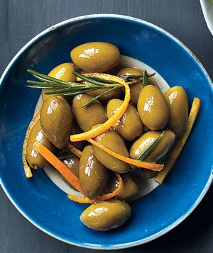 Picholine Olives Mixed With Orange Zest and Rosemary