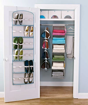 A closet organized with Real Simple Solutions products