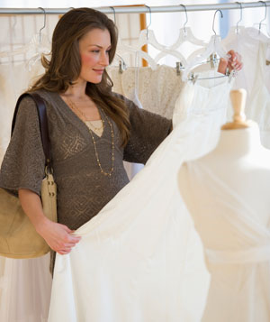 Woman shopping for wedding gown