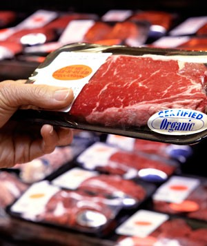 Hand holding package of organic beef in supermarket