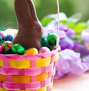 Chocolate bunny and chocolate eggs in Easter basket fc7b3db74