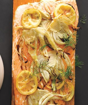 Plank-Grilled Salmon With Lemon and Fennel
