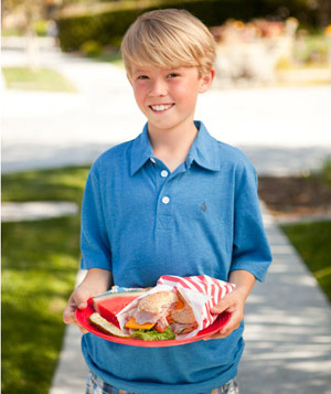 Boy holding picnic lunch on plastic plate