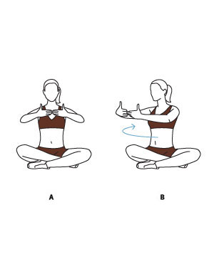 An illustration of women doing a torso twist exercise