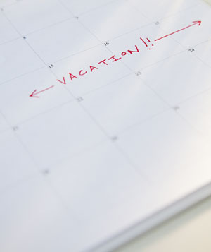 Vacation days marked on a calendar