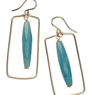 Nicholas Lane earrings of amazonite and gold fill