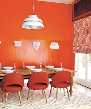 Modern Dining Room With Bright Orange Walls Chairs And Window Shade
