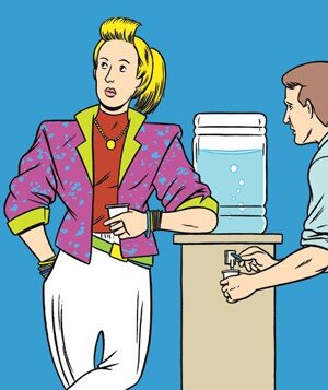 e7792b5684b Illustration of person standing at water cooler wearing loud outfit