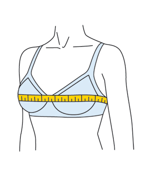 Illustration of how to measure a woman's bust