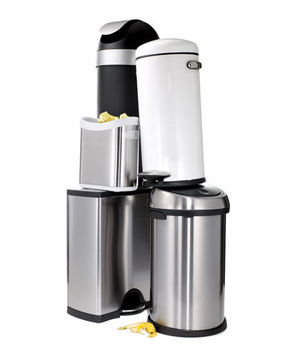 Stacked kitchen trash cans