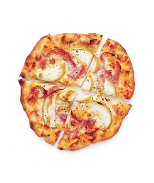 Ham, Cheddar, and Apple Pizzas