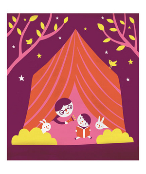 Illustration of siblings in a tent