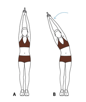 Illustration of a standing side stretch