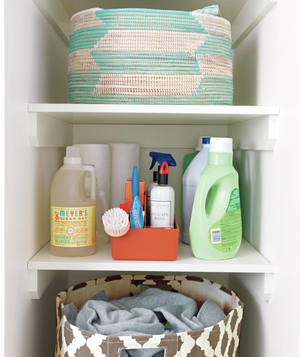 Shelves and bins with laundry products