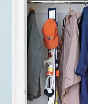 Hanging strip in closet for small items