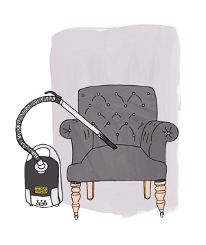 Illustration of vacuuming a chair