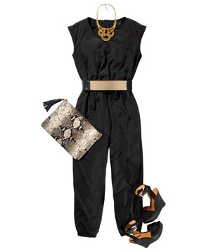 054e17624b Black jumpsuit with shoes and accessories