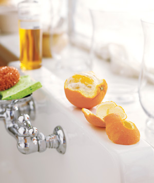 Citrus peel used to deodorize garbage pail