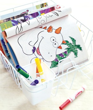 Dishrack used to organize coloring books