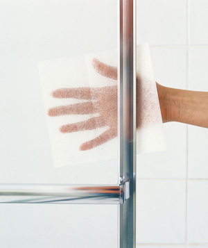 Dryer sheet used to remove soap scum